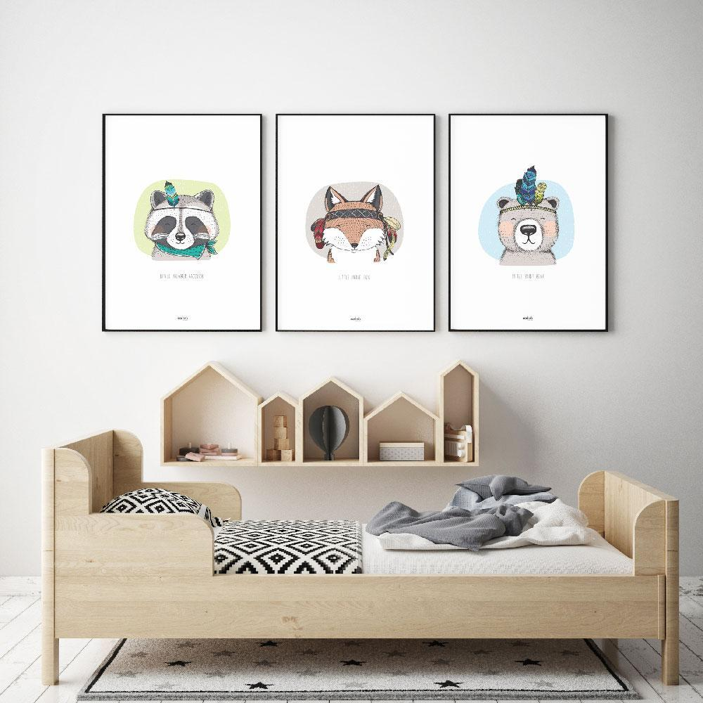 Co:Hab Designs Gender Neutral Little Dreamer Raccoon nursery art kids wall art