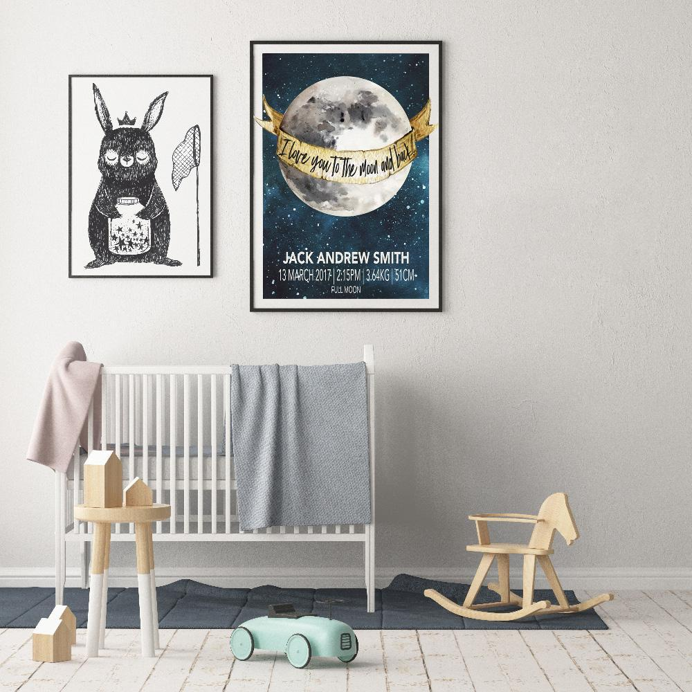 A Beautiful Nursery Print - Moon Child Birth Poster