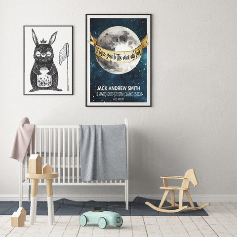 Fizzy Art Gender Neutral Moon Child Birth Print nursery art kids wall art