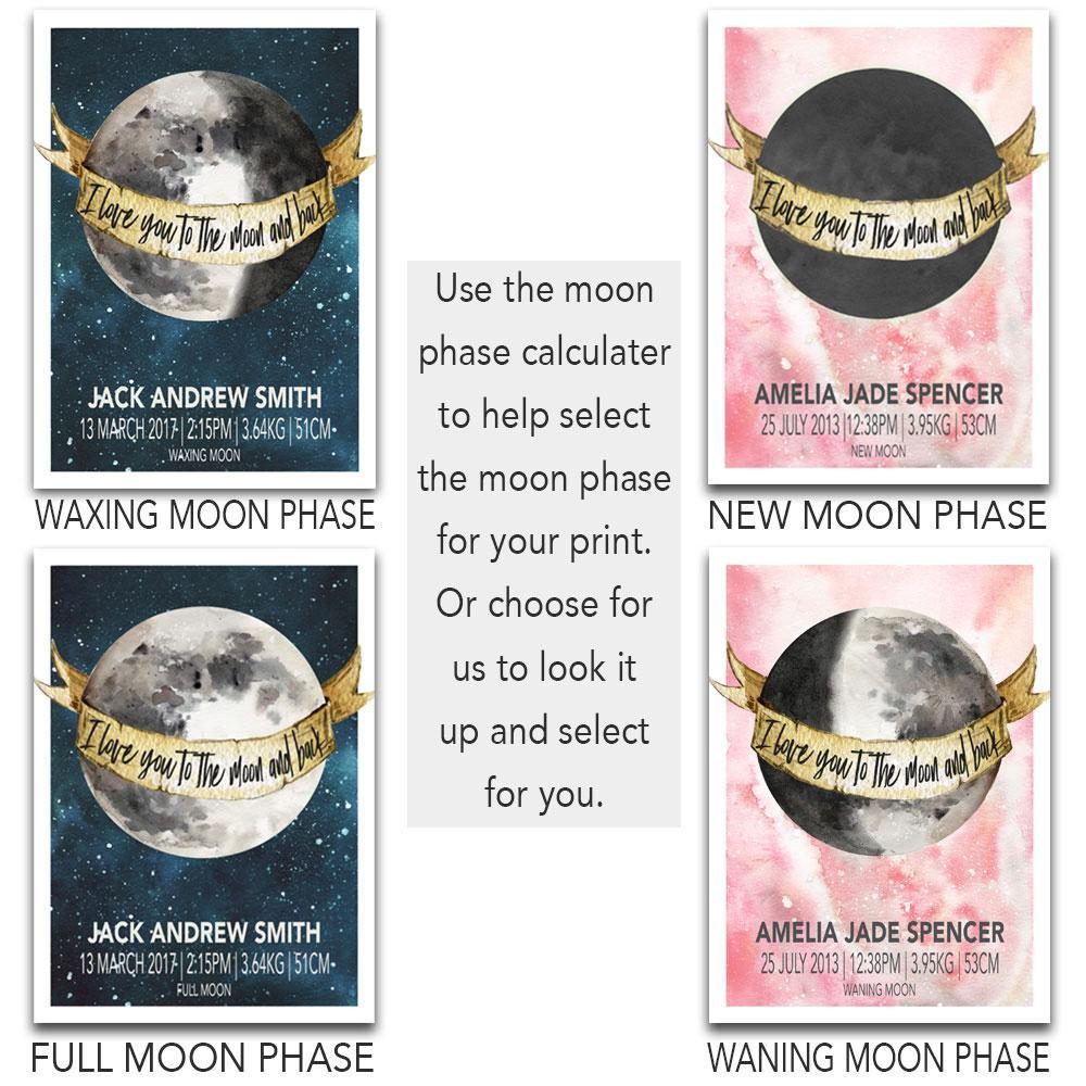 Moon Phase Illustrations For Your Babies Birth Poster