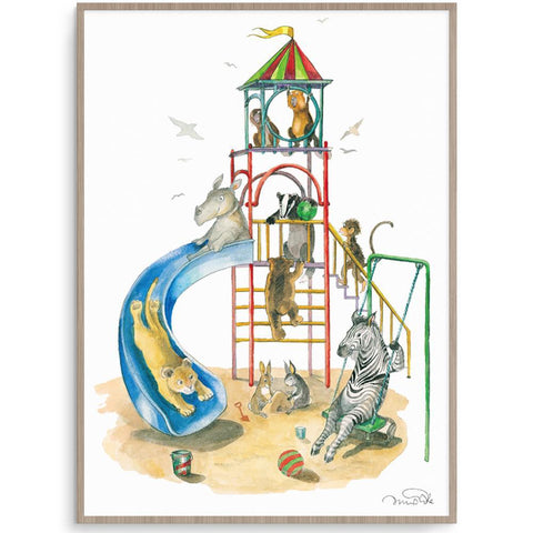 Playground Fun cute Watercolour Kids Illustration