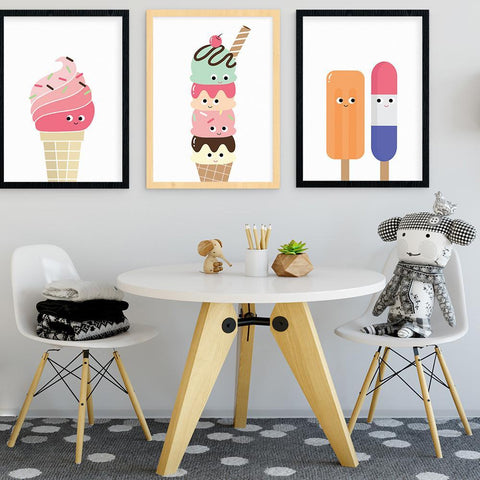 Llama Creations Gender Neutral Popsicles nursery art kids wall art