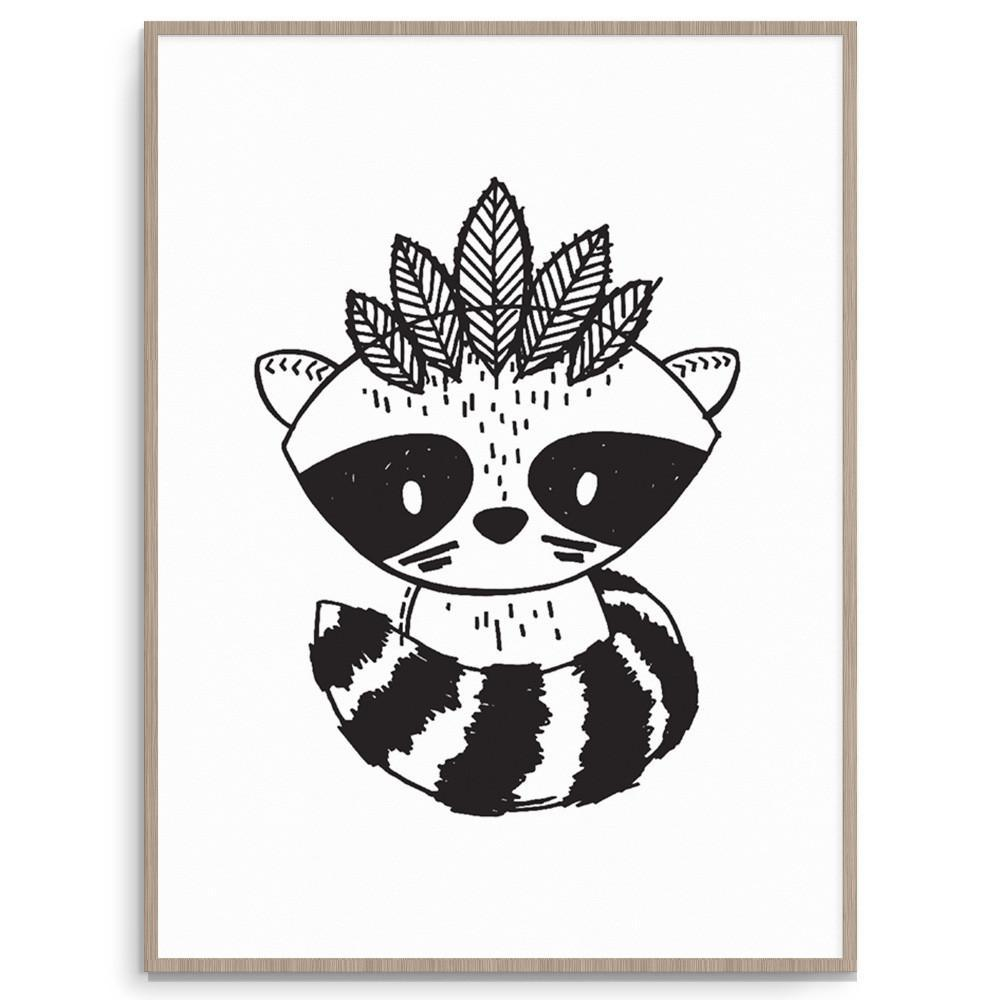 Monochrome Raccoon Warrior Print
