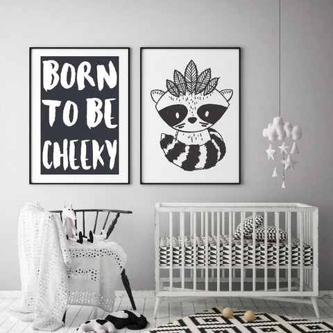 Create A Monochrome Nursery Or Kids Room With Black And White Raccoon Warrior