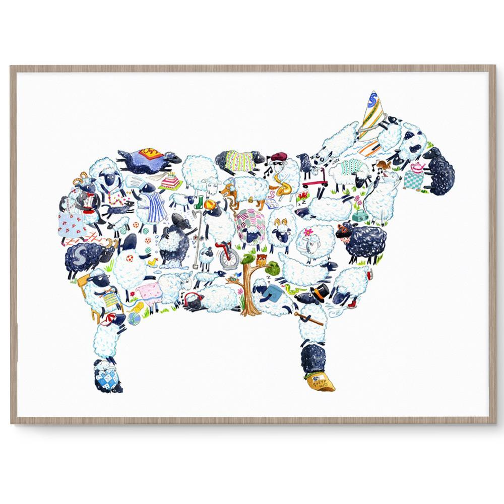 Sheep Print Children's Room Art