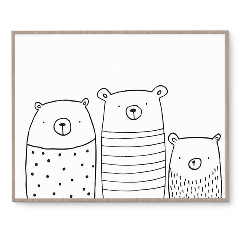 Three Bears Cute Nursery Art