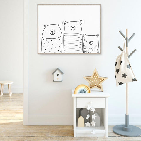 Gender Neutral Bear Family Wall Art For Nursery