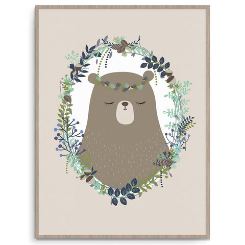 Llama Creations Gender Neutral Woodland Bear nursery art kids wall art