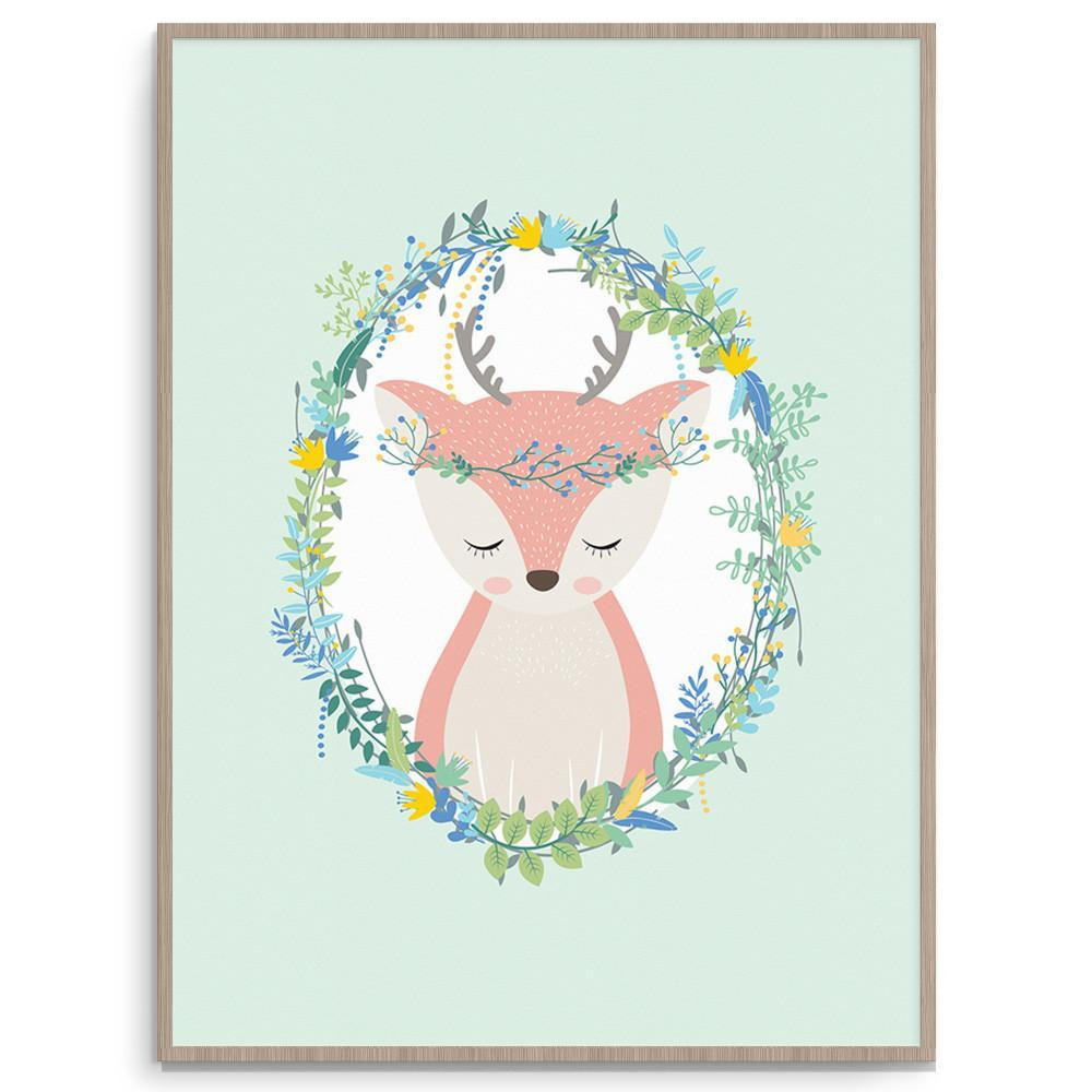 Llama Creations Gender Neutral Woodland Deer nursery art kids wall art