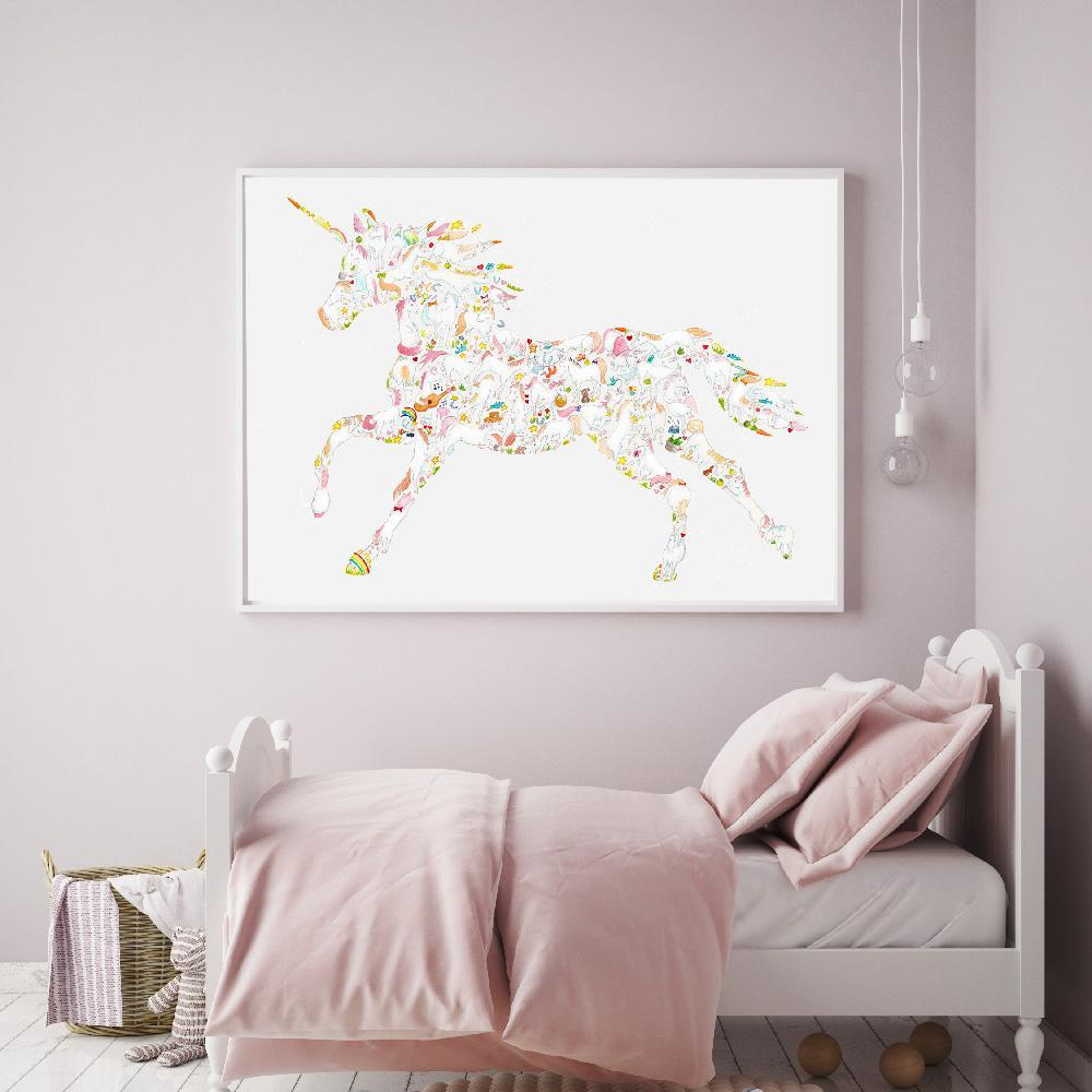 Incredible Unicorn Wall Print For Girls Room