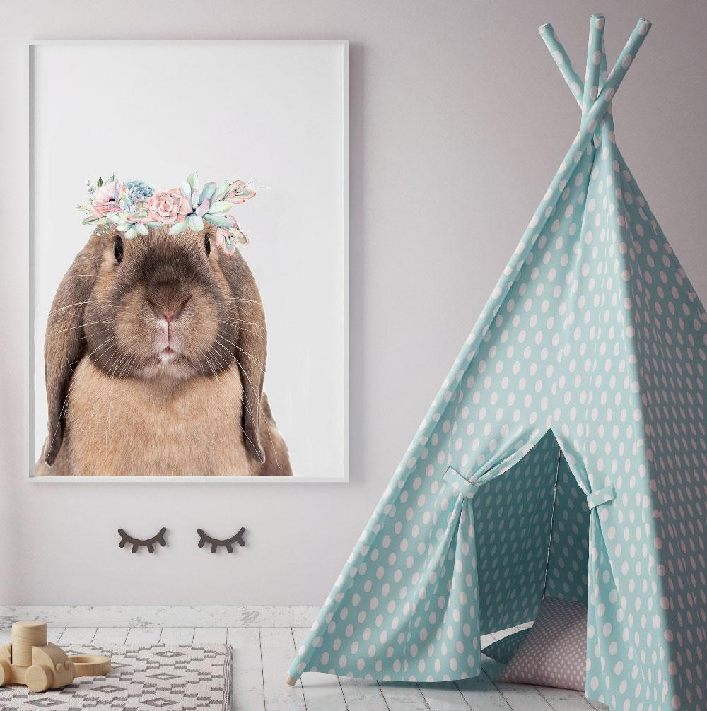 Boho Bunny Print For Girl's Room Or Nursery