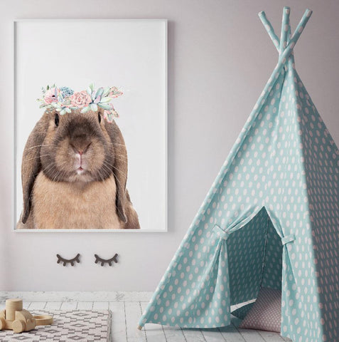 Fizzy Art Girl Prints Boho Bunny nursery art kids wall art