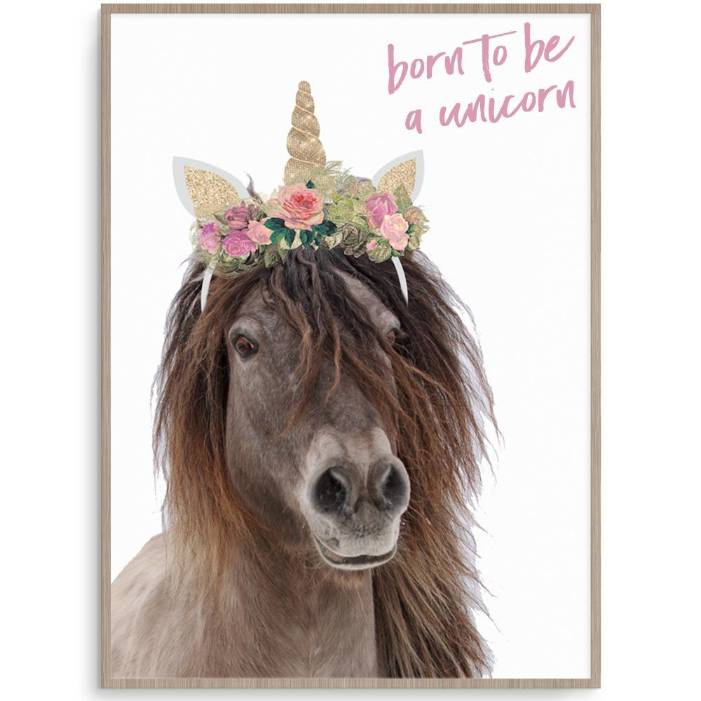 Magical Born To Be A Unicorn Poster Print For Girls