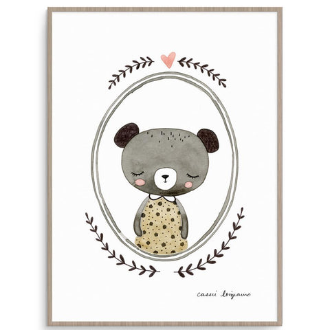 Cassie Loizeaux Girl Prints Forest Portrait - Bear nursery art kids wall art