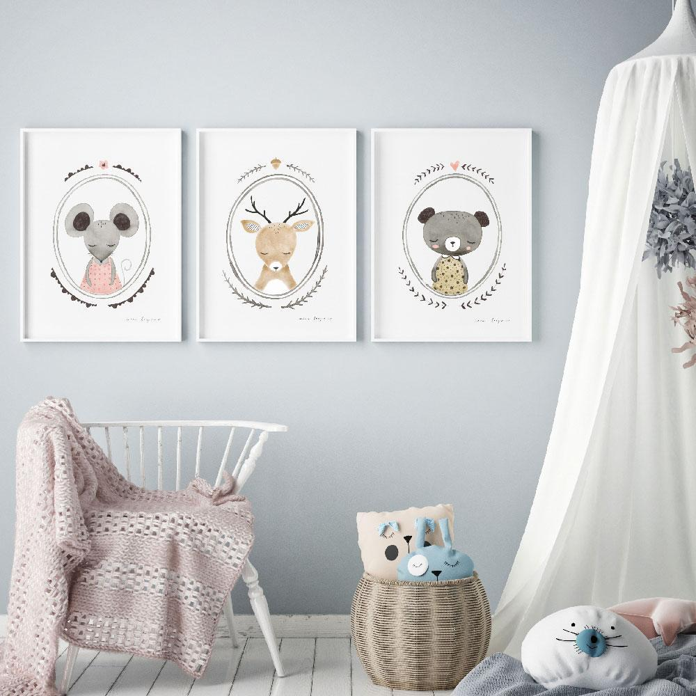 A Cute Woodlands Animal Collection Of Nursery Art