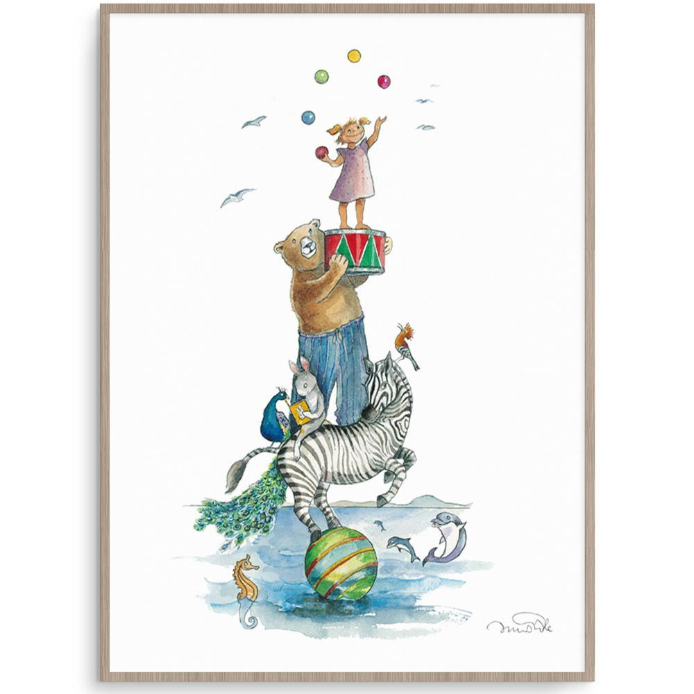 Tallest Girl With Animal Friends Nursery Art Kids Wall Art