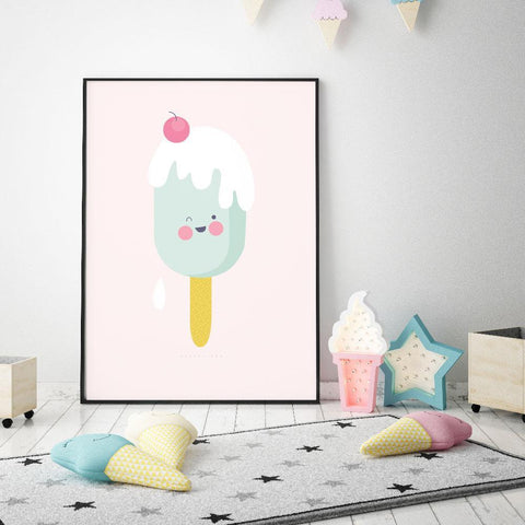Victor Fox Girl Prints Icy Pole nursery art kids wall art