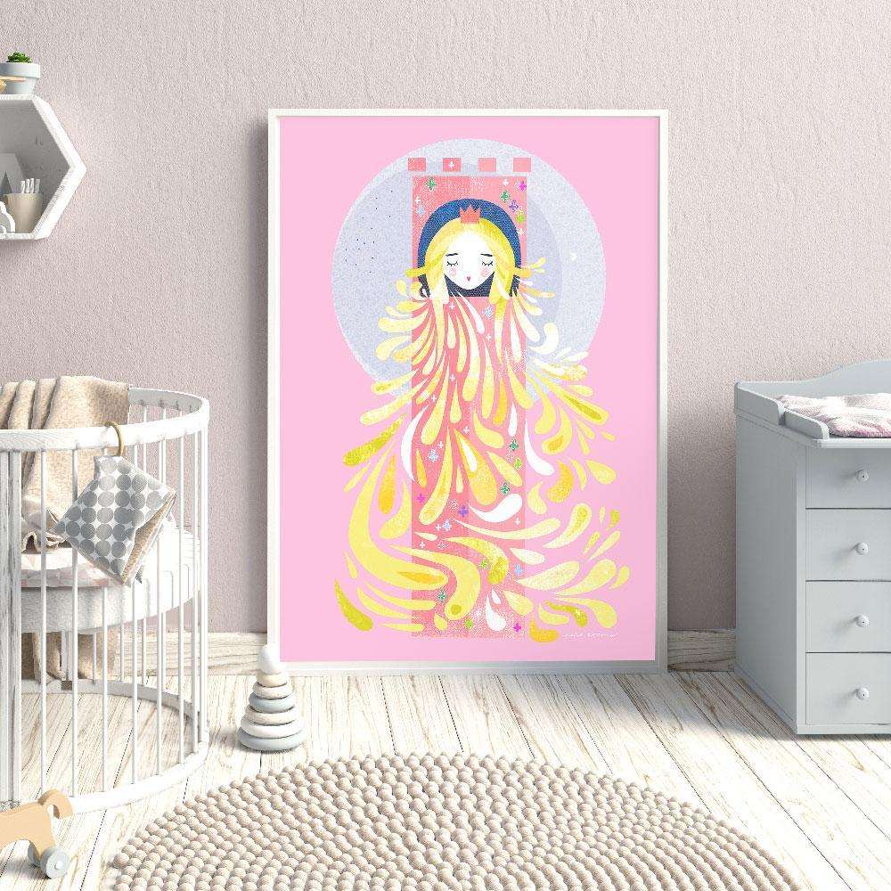 Delightful Lady Locks Fairytale Wall Art