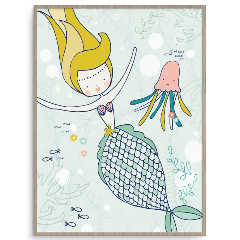 Victor Fox Girl Prints Millie Mermaid nursery art kids wall art