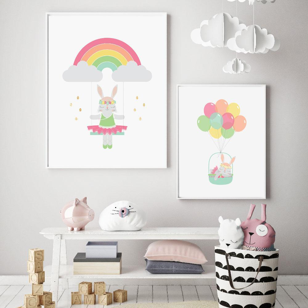 Llama Creations Girl Prints Rainbow Bunny nursery art kids wall art