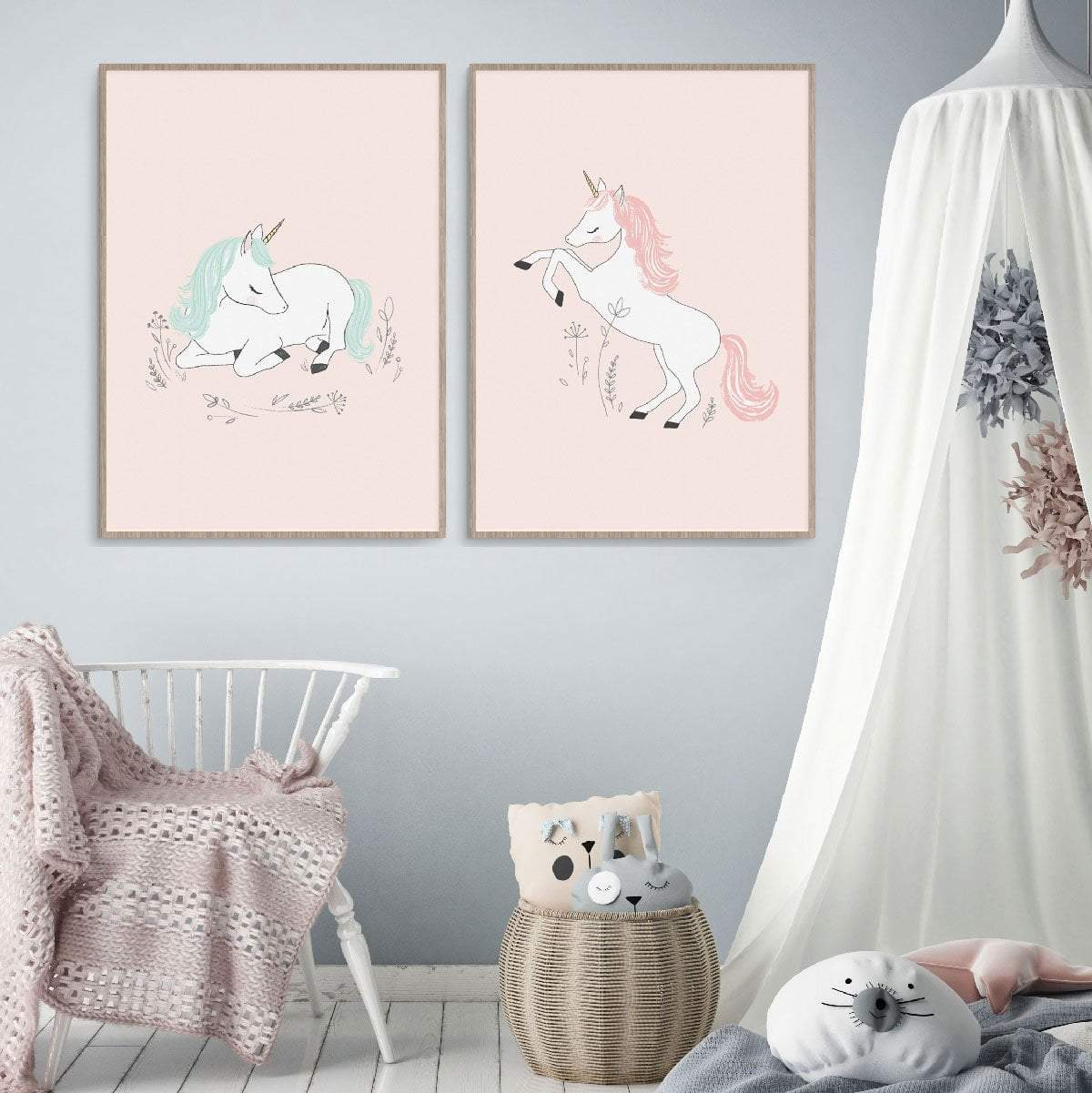 Unicorn Dreaming Wall Art For Little Girls Room