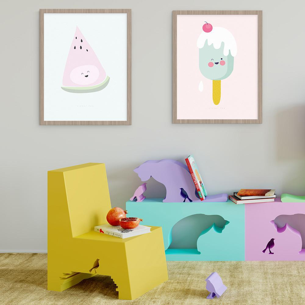 Create A Fun Look In Your Girls Room With Our Icy Pole And Watermelon Wall Art