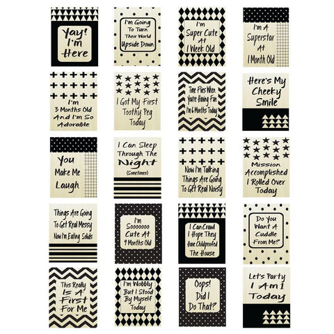Fizzy Art Milestone Cards Monochrome Snapture Baby Milestone Cards nursery art kids wall art