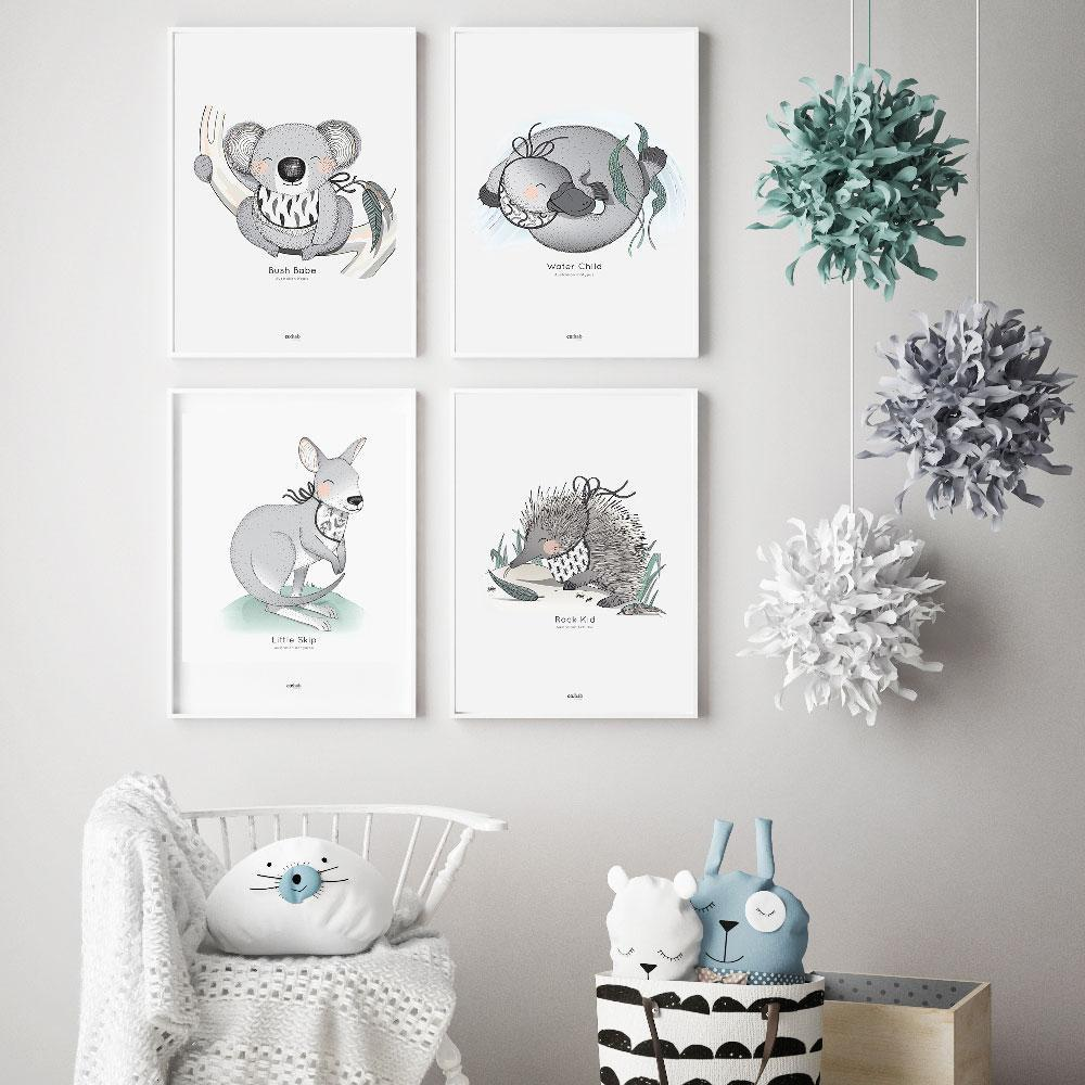 Co:Hab Designs Special Offers Aussie Animals Print Set nursery art kids wall art