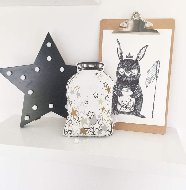Cassie Loizeaux Special Offers Jar Of Stars Musical Cushion And Star Catcher Print Special nursery art kids wall art