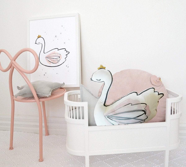 Cassie Loizeaux Special Offers Swan Princess Cushion And Print Special nursery art kids wall art