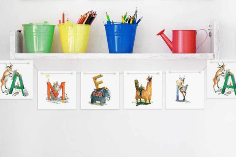 Animo Wall Décor Animal Name Bunting nursery art kids wall art
