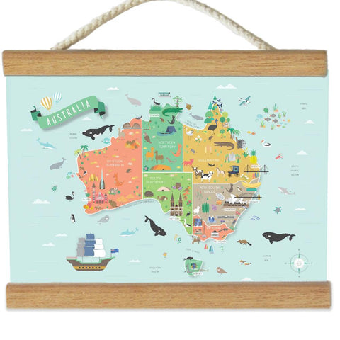 Llama Creations Wall Décor Australia Map Canvas Banner nursery art kids wall art