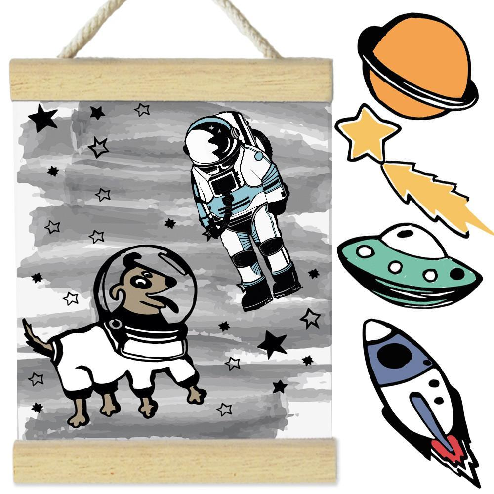 Fizzy Art Wall Décor Change The Space Objects Wall Banner - Space Dog nursery art kids wall art