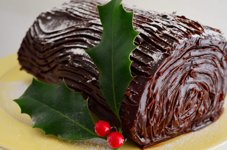 Salted caramel chocolate log dessert