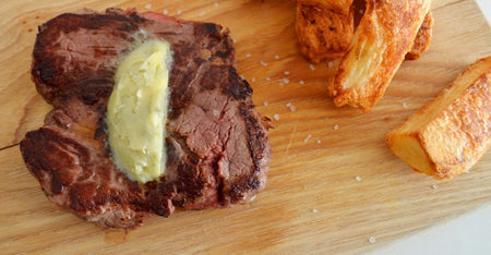 Fillet Steak with Roquefort butter and homemade chips recipe