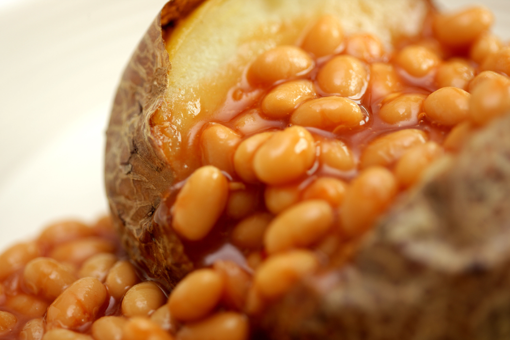 Baked Jacket Potato with a classic baked beans and cheese filling is paired with the red wine Vin2o Tintorera Garnacha from Almansa in Spain - buy this wine from Novel Wines