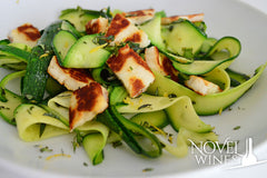 Courgette noodles with crisp halloumi recipe