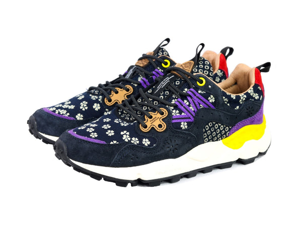 Sneakers da donna Flower Mountain Modello Yamano 3 Woman Materiale Nylon Printed/Calf Leather Colore Dark Navy Flower