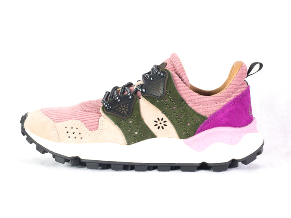 Sneaker da donna Flower Mountain, modello Corax. Materiale Velvet/Velour. Colore Pink/Military.