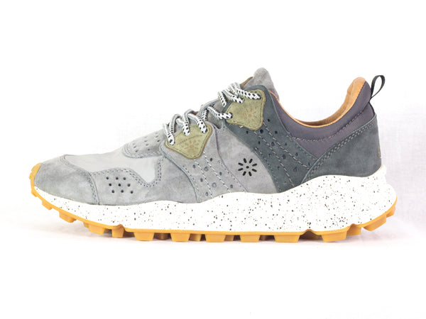 Sneaker da uomo Flower Mountain, modello Corax Man. Materiale Nylon/Velour. Colore Grey.