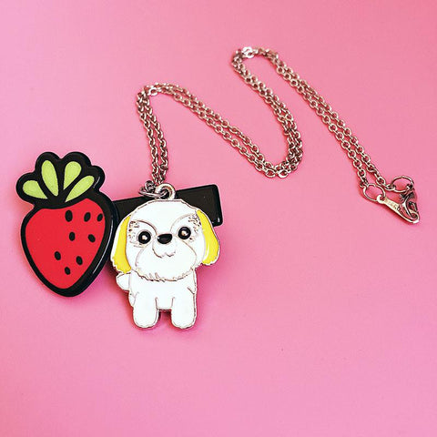 Cute White & Yellow Shih Tzu Necklace
