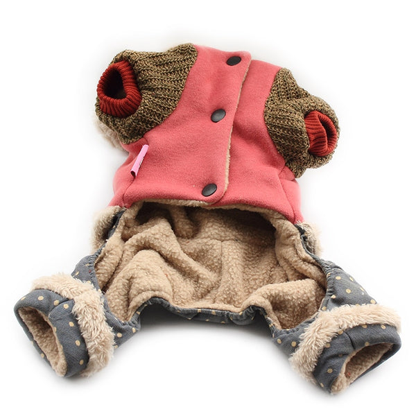 Cute Four Footed Romper Hoodie with Knit Pocket