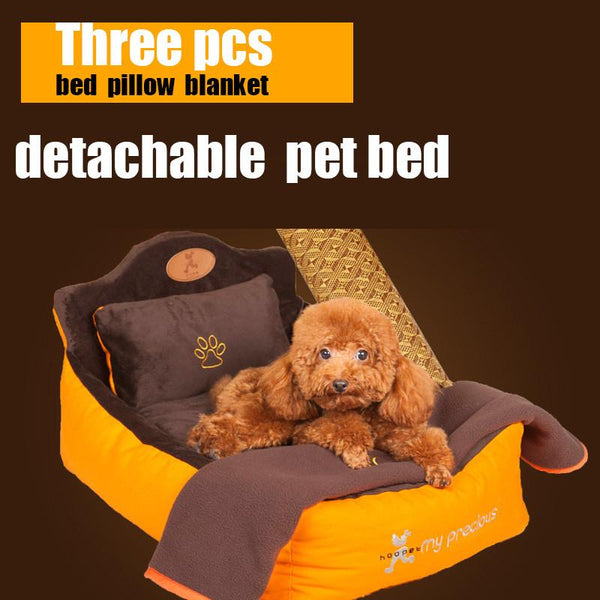 Luxury Washable 3 Pieces Set (Pet bed + pillow + blanket)