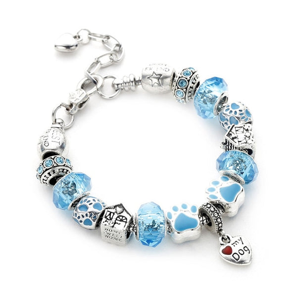 Lovely Poshfeel Silver Plated Dog Paw Heart Charm Bracelets