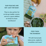reusable food pouches - baby food storage - baby silicone bib - toddler - baby feeding - baby food