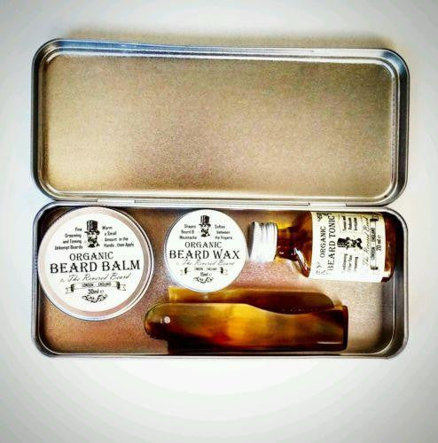 Gift Tin including Organic Beard Balm, Beard Oil, Moustache Wax and Ox-Horn Comb by The Revered Beard