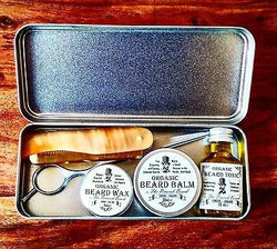 Organic Beard Balm, Beard Oil, Moustache Wax and Ox-Horn Comb and Scissors by The Revered Beard