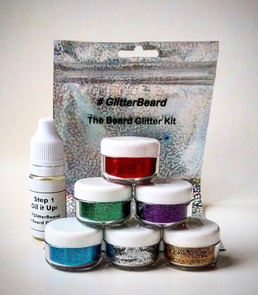 #Glitterbeard, Biodegradable Beard Glitter Kit. 6 Colour Set