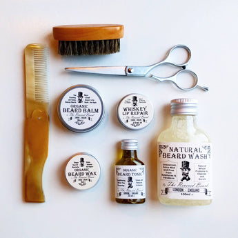 The Revered Beard Organic Gift Set - Beard Oil, Wash, Balm,Moustache Wax, Brush and comb