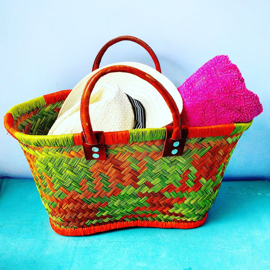 French Market Bag - Handmade woven basket with Leather Handles